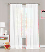 Set of 2) Sheer Pole Top Window Curtain Panels: White & Coral pom-poms, 76 x 84