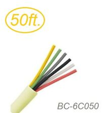 50ft 6-Conductor 24 AWG Solid Copper Wire Round Beige Station Bulk Cable