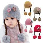 Toddler Kids Baby Boy Girl Fur Pom Hat Winter Warm Knit Bobble Beanie-Cap 6-24M