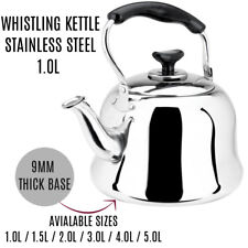 Stainless Steel Whistling Tea kettle Teapot Cookware Silver Tone 1L