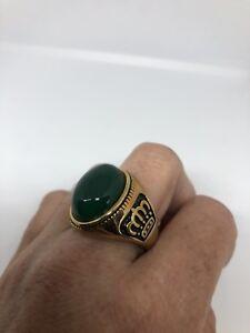 Vintage Golden Stainless Steel Genuine Green Crysoprase 11.25 Men's Crown Ring