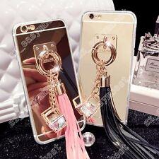 Fashion Mirror Bling Diamond Crystal Pendant Tassel Acrylic Case Cover Soft Skin