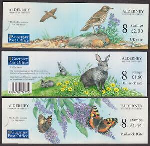 Alderney 3 booklets - Bird, rabbit, butterfly (1997, 1998) MNH