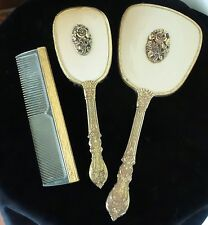 VINTAGE ORMOLU BRUSH COMB AND MIRROR VANITY SET WITH  RAISED ROSES