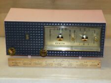 1950's style MCM Art Deco Pink Zenith A519V Clock AM Tube Radio Works