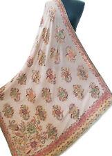"Soft Large Shawl Jamavar Wool Floral Bouquets Kani Gold Beige  80""x40"" Pashmina"