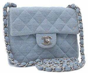 Auth CHANEL Matelasse Canvas Chain Shoulder Cross Body Bag Light Blue CC D7097