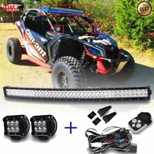 """42"""" Curved LED Light Bar Combo Beam+2x 4"""" Pods+Wiring Kit for 2017 CAN-AM X3/MAX"""
