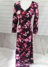 Women's Floral Maxi Dress zip up Black Pink Vintage V neck Small Empire