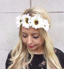 White Cream Daisy Sunflower Flower Headband Festival Hair Crown Garland 3377