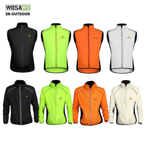Mens Cycling Gilet Wind Jacket MTB Bike Long Sleeve Sleeveless Coat Hi Viz Tops