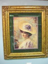Framed Victorian Lady Print Gold Frame