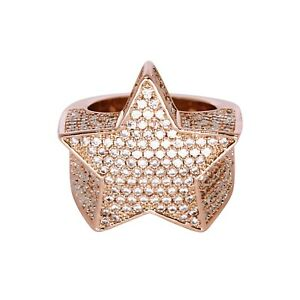 Iced VVS Diamond Out Star Ring 18K Rose Gold Plated Pinky Size 7 Rapper Real New