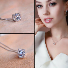 Cubic Solid Crystal Silver Cube Pendant Necklace With Chain Choker Necklace