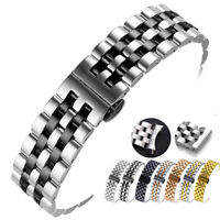 Curved Stainless Steel Polished Bracelet Replacement Watch Band Strap 18-24mm