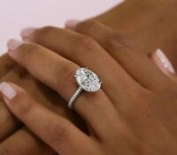 1.60 ct. Micro Pave Oval Cut Diamond Under Halo Engagement Ring F, VS2 GIA 14k