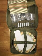 Picnic In Ascot Serving For 2, Glasses, with Insulated Food & Wine Bag-Green