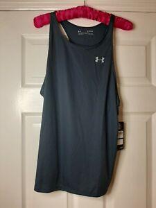 Under Armour UA HeatGear Ladies Top Sports Running Vest BN Petrol Blue