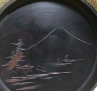Vintage Hand Carved Wood Round Trinket Tray Mt. Fuji Japanese sail boats H-12