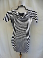 "Ladies Mini Dress River Island UK 6 black/white stripes bodycon bust 28"" 7287"