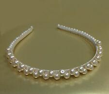 Ivory Bridal Tiara Wedding Headband with Faux Pearl