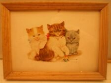 Mid century picture frame, 5 by 7 inches, Print of cats, # 1157