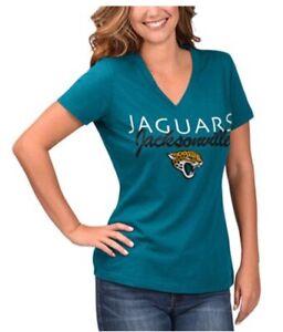 NFL Jacksonville Jaguars Women V Neck Tee T-shirt Glitter Logo Teal Size S NWT