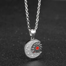 Enamel Sun and Moon Clear CZ Silver Surgical Stainless Steel Pendant Necklace