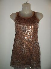Guess S Tank Top Leopard Print Sequin Gold Metallic Shiny Spring Party Chic Sexy