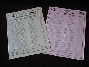 1974 Starting Position and Entry List for the Indy 500 with many Autographs