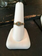 ANTIQUE MOURNING MEMORIAL TURQUOISE SEED PEARL 9K RING LOVELY