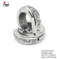 Stainless Steel Huggie Hoop Hinged Snap Hip ?Hop Men's Earrings SSHE 034 S