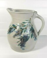 Stoneware Pitcher with Glazed Thumb Rest, Hand Painted Original Signed by Artist
