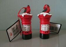 X2 Post Box Christmas Tree Decorations. Hanging Snow & Robin Topped Post Box