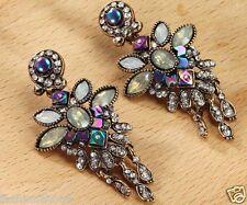 1 pair Handmade Woman Green  Crystal Rhinestone Long Ear Stud Hoop earrings 182