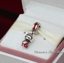 Authentic Pandora Silver Hanging Enamel Red Japanese Doll Bead 791368EN09