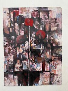 tableau astrait signature illisible composition abstraite X Lin ? 1987 Chine ?