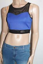 SUPRE Brand Blue Black Mesh Insert Fitted Crop Top Size S BNWT #SM04