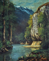 River in Mountains Gorge Gustave Courbet Fine Art Canvas Print Reproduction 8x10