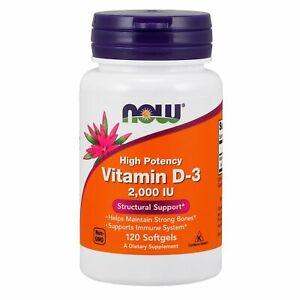 NOW Foods Vitamin D-3,  2000 IU, 120 Softgels IMMUNE, BONE, & DENTAL HEALTH