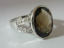 Stunning Large & Unusual Smoky Quartz & Diamond 9k White Gold Ring Size O