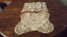 "Vintage White Crocheted Lot of 2 Doilies 9"" x 11"""