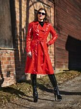 Lackmantel Mantel Rot Trenchcoat Knielang Vinyl Größe 32 - 58 XS - XXXL
