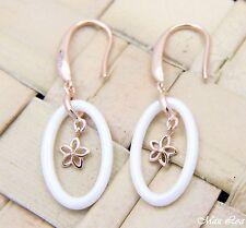 925 Silver Pink Rose Gold Hawaiian Plumeria Flower White Ceramic Oval Earrings