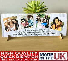 "11x4"" Personalised Family Photo & Text Plaque Best Friend Baby Friendship NEW"