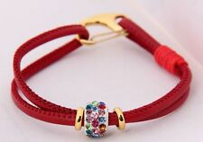 Red Shamballa Leather Lobster clasp Rhinestone Bracelet