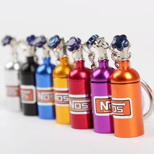 10PCS × NOS Nitrous Oxide Bottle Turbo Keychain Keyring Stash Pill Box Storage