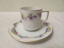Vintage Thomas Bavaria Porcelain Cup and Saucer Flowers Floral Utrecht Numbered