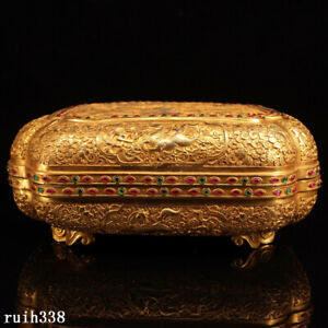 """20"""" China Qing Dynasty Pure copper gilt Hand carving set gemstone Jewelry box"""