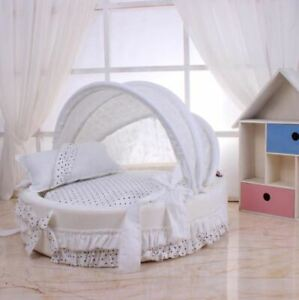 New Princess Pet Dog Cat Bed House Sofa Mat Cushion Tent +Pillow Cotton White S